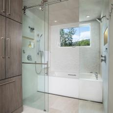 Tub and Shower Area in Contemporary Bathroom