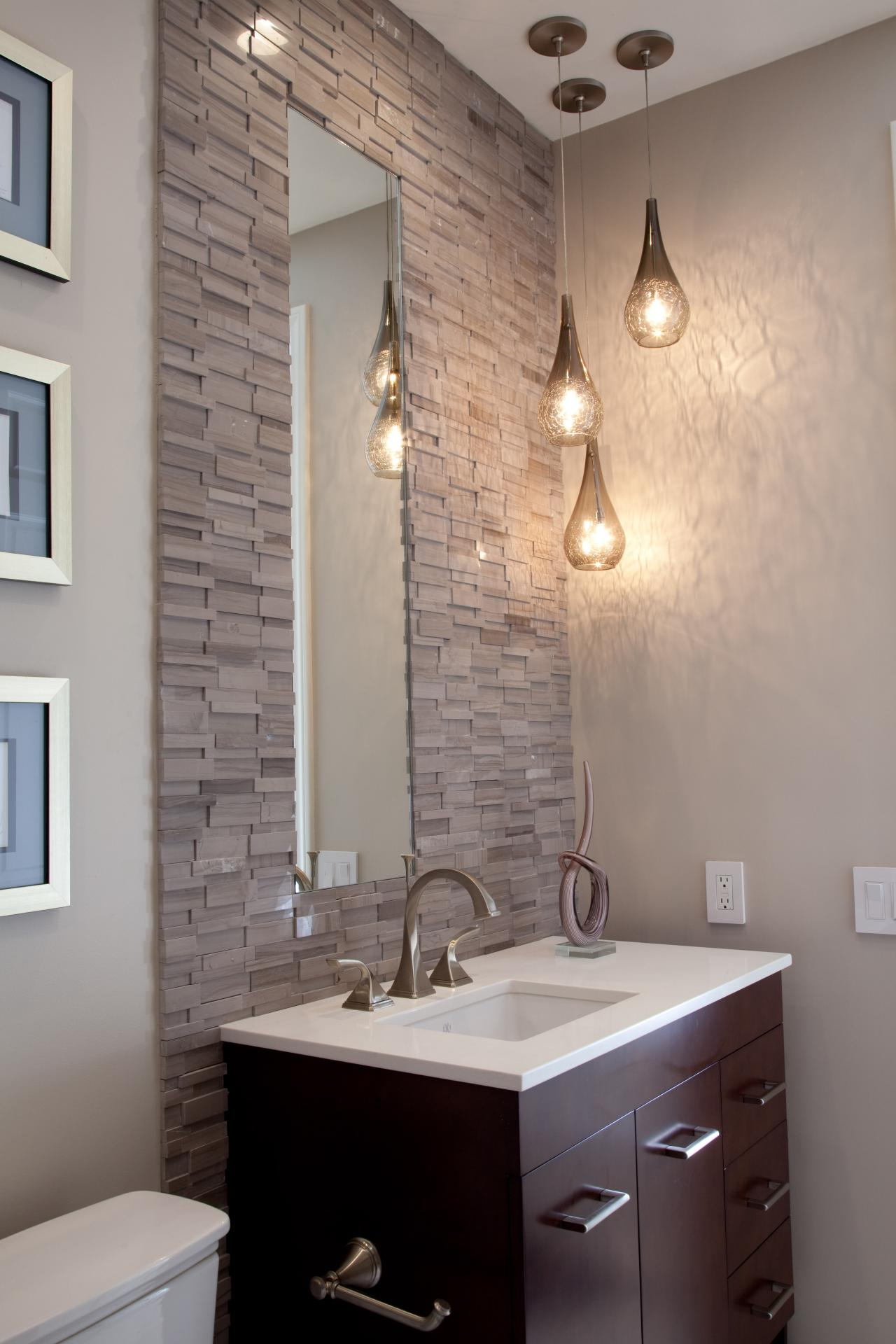 Bathroom vanity with stacked stone tile wall hgtv for Bathroom finishes trends