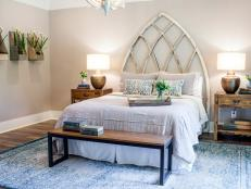 Repurposed Church Window Creates Focal Point in Newly Renovated Master Bedroom