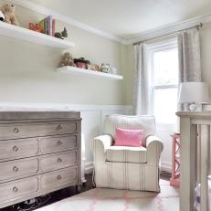 Distressed Changing Table in Girl's Nursery