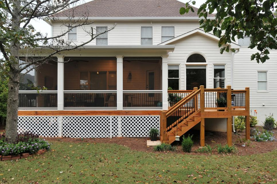 Traditional Screened Porch and Deck with Stairs