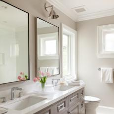 Transitional Guest Bath with Double Vanity