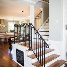 Stairway With Black Iron Railing