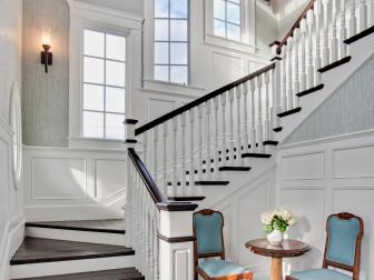 Traditional Staircase with Casement Windows