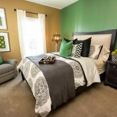 Nature Inspired Guest Bedroom With Green Accent Wall