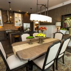 Open Concept Kitchen and Dining Area in Brown