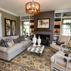 Transitional Great Room in Neutral Hues