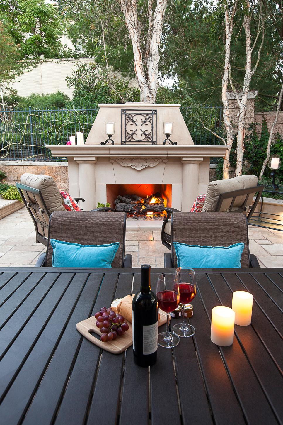 Southwestern Style Outdoor Fireplace