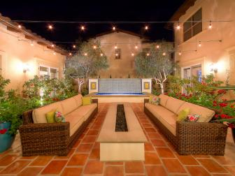 California Courtyard with Fire Pit, Outdoor Seating