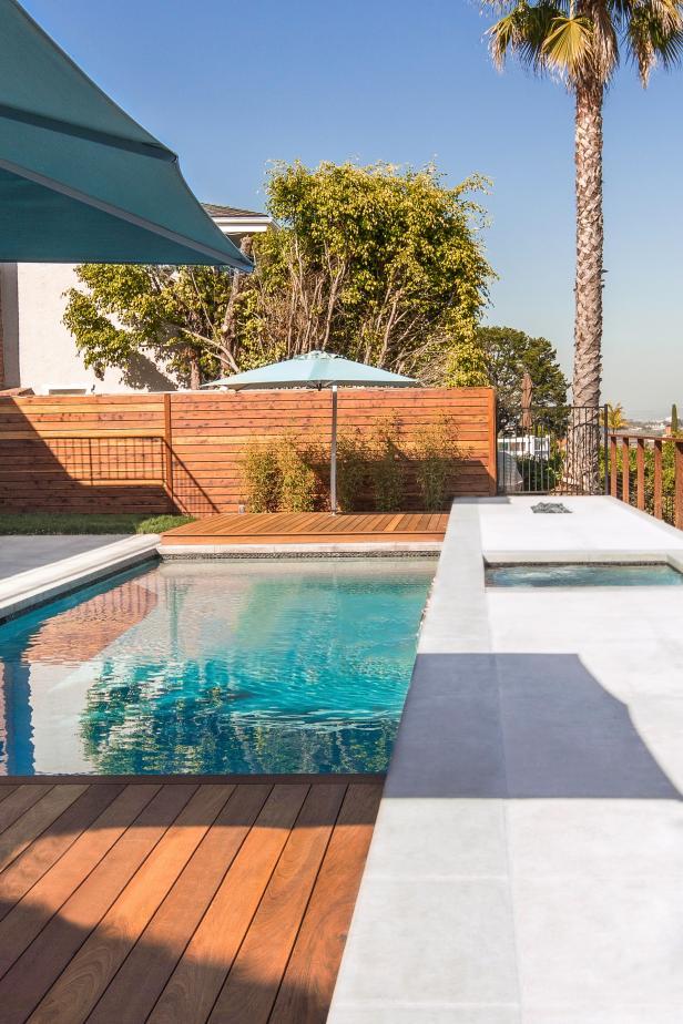 White Modern Pool Area With Sleek Deck Fence Hgtv
