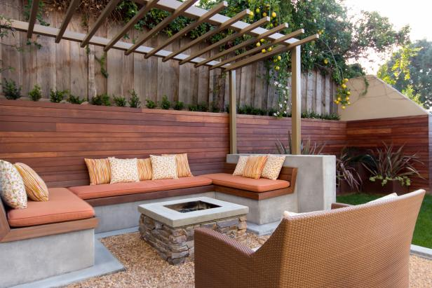 Contemporary Built-In Seating with Fire Pit, Pergola.