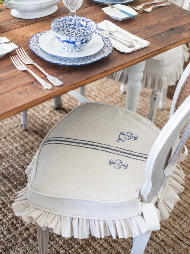 Dining chairs are the perfect candidates for slipcovers, since they have simple shapes and are most likely to be the victim of food spills!  Washable slipcovers with flirty skirts and ties add function and some feminine style to any eating space.