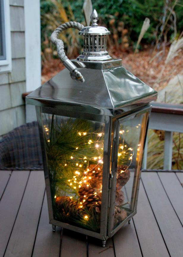 Add Holiday Lights to Outdoor Lanterns.