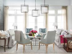 <i>HGTV Magazine</i> opens the doors to this year's house, located on Merritt Island, FL, for an inside look at the beachy-beautiful living room.