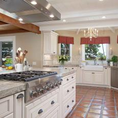 French Country Inspired Kitchen With White Cabinets