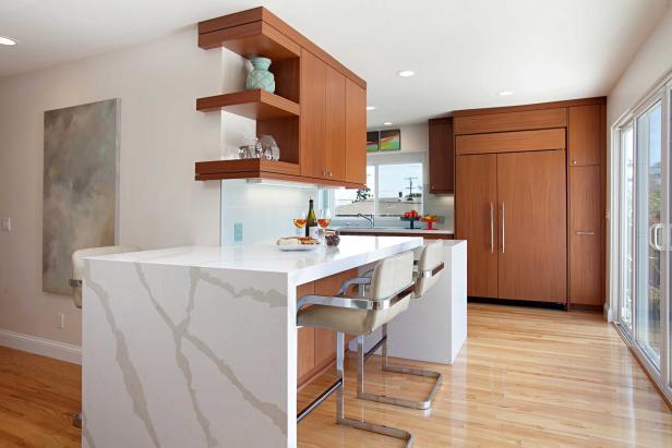 Midcentury Modern Kitchen Bar With Large Marble Crack Design ...