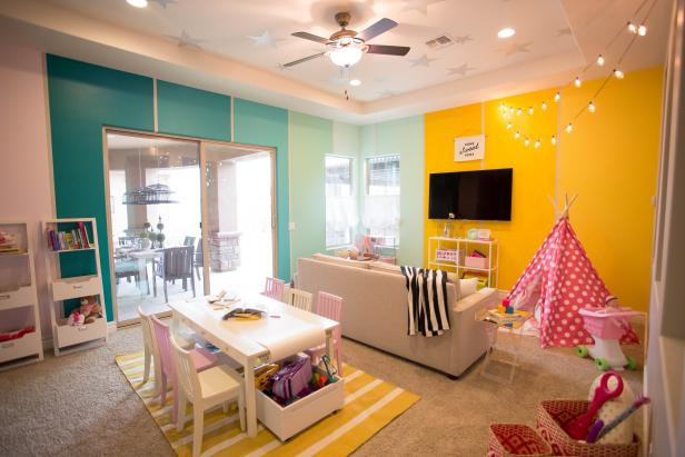 Colorful, Transitional Playroom with Fun Paint Treatment