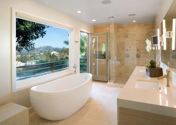 contemporary bathroom features freestanding tub shower for two - Contemporary Bathrooms Ideas
