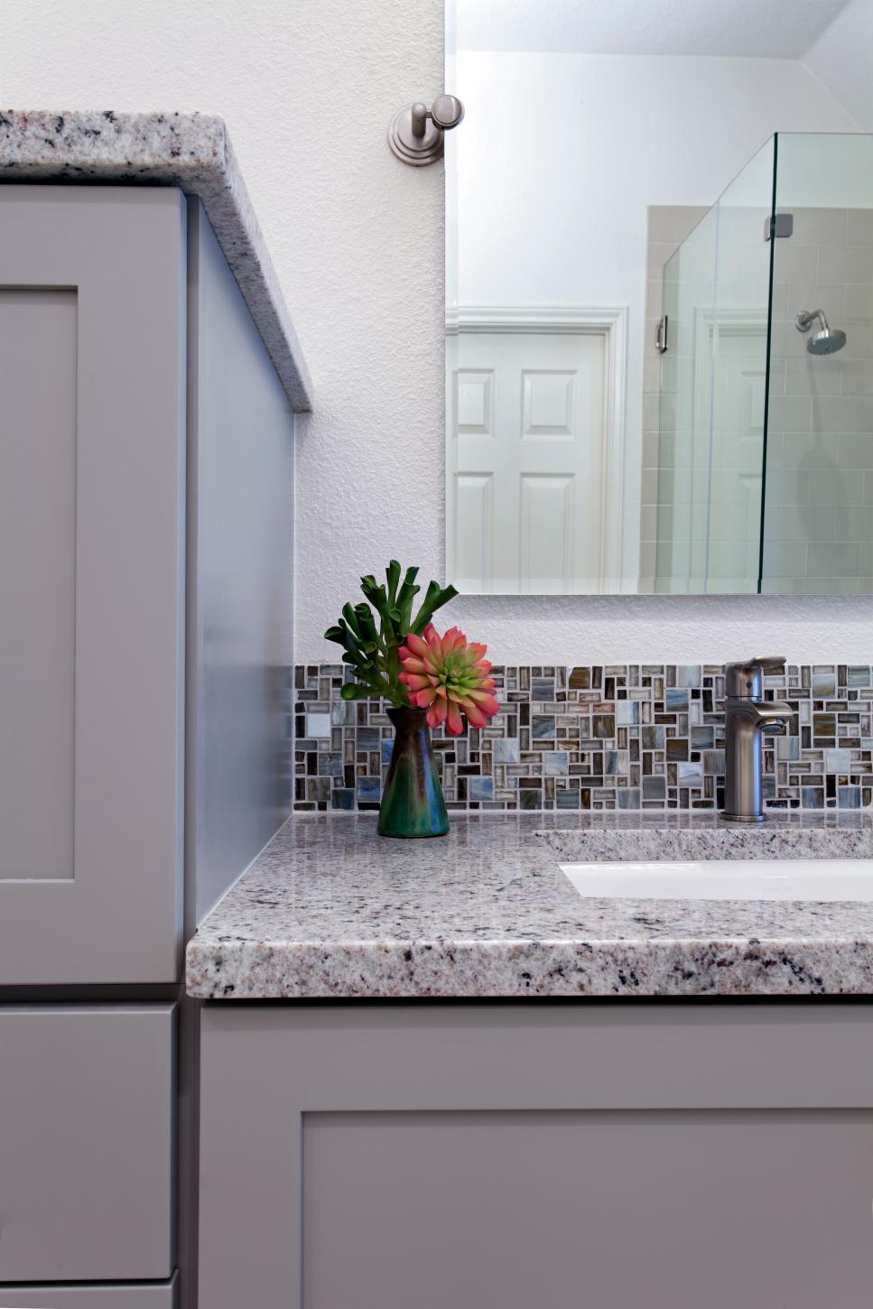 Purple Transitional Bathroom With Stone Countertop & Mosaic Tile