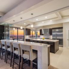 White Modern Open Plan Kitchen With Eating Bar