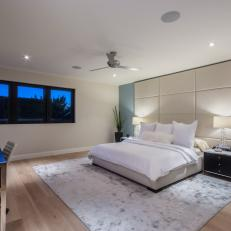 White Modern Bedroom With Leather Panel Headboard