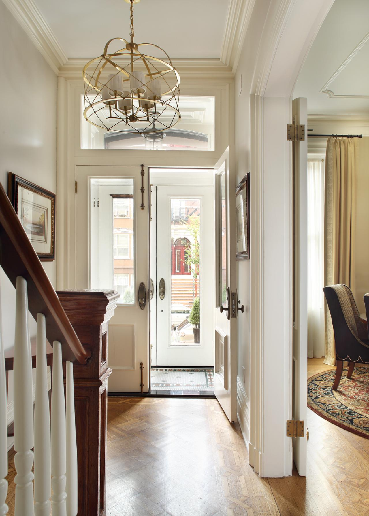Foyer Room Nyc : White traditional brownstone foyer with gold chandelier hgtv