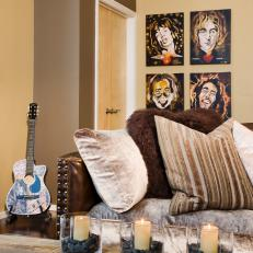 Masculine Living Room Boasts Portraits of Famous Musicians