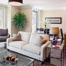 Neutral Transitional Living Room With White Loveseat