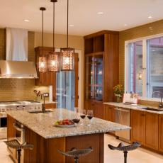 Neutral Contemporary Country Kitchen With Pendant Lights