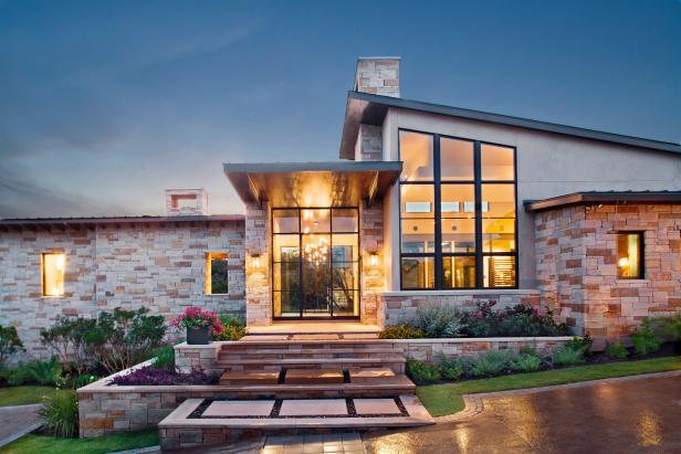 Neutral Stone Ranch Home Exterior and Walkway