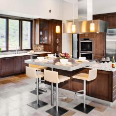 Brown and White Contemporary Eat-In Kitchen With Tile Floor