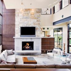 Neutral Contemporary Living Room With Stone Fireplace