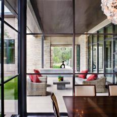 Window View Onto Outdoor Contemporary Patio
