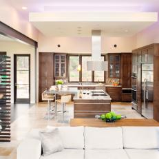 Brown and White Contemporary Open Plan Kitchen
