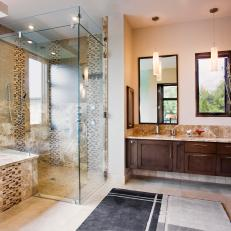 Neutral Contemporary Spa Bathroom With Glass Shower