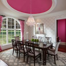 Attrayant Pink And White Transitional Dining Room With Pink Ceiling