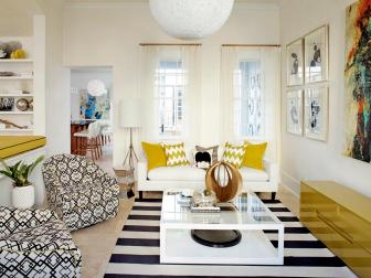 Retro White Living Room With Bold Geometric Patterns