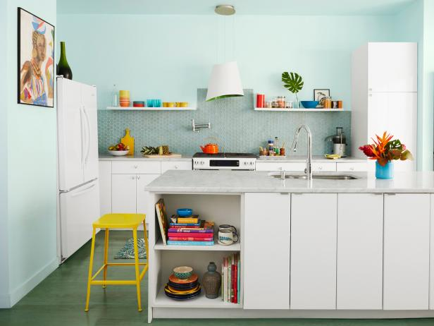 Multicolored Kitchen With White Cabinets