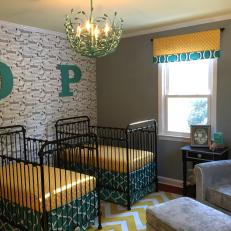 Twins Nursery Features Teal & Yellow Accents & Large Letter Wallhangings