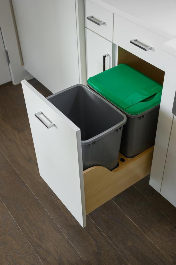 Concealed Recycling Bin in Cabinet