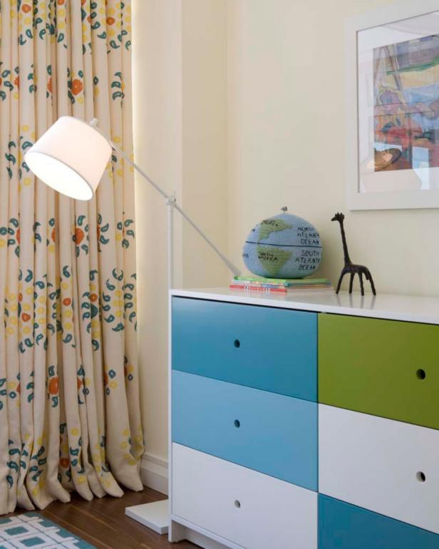 Neutral Kids Room With Blue, White & Green Dresser