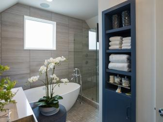 Relaxing Master Bathroom With Storage
