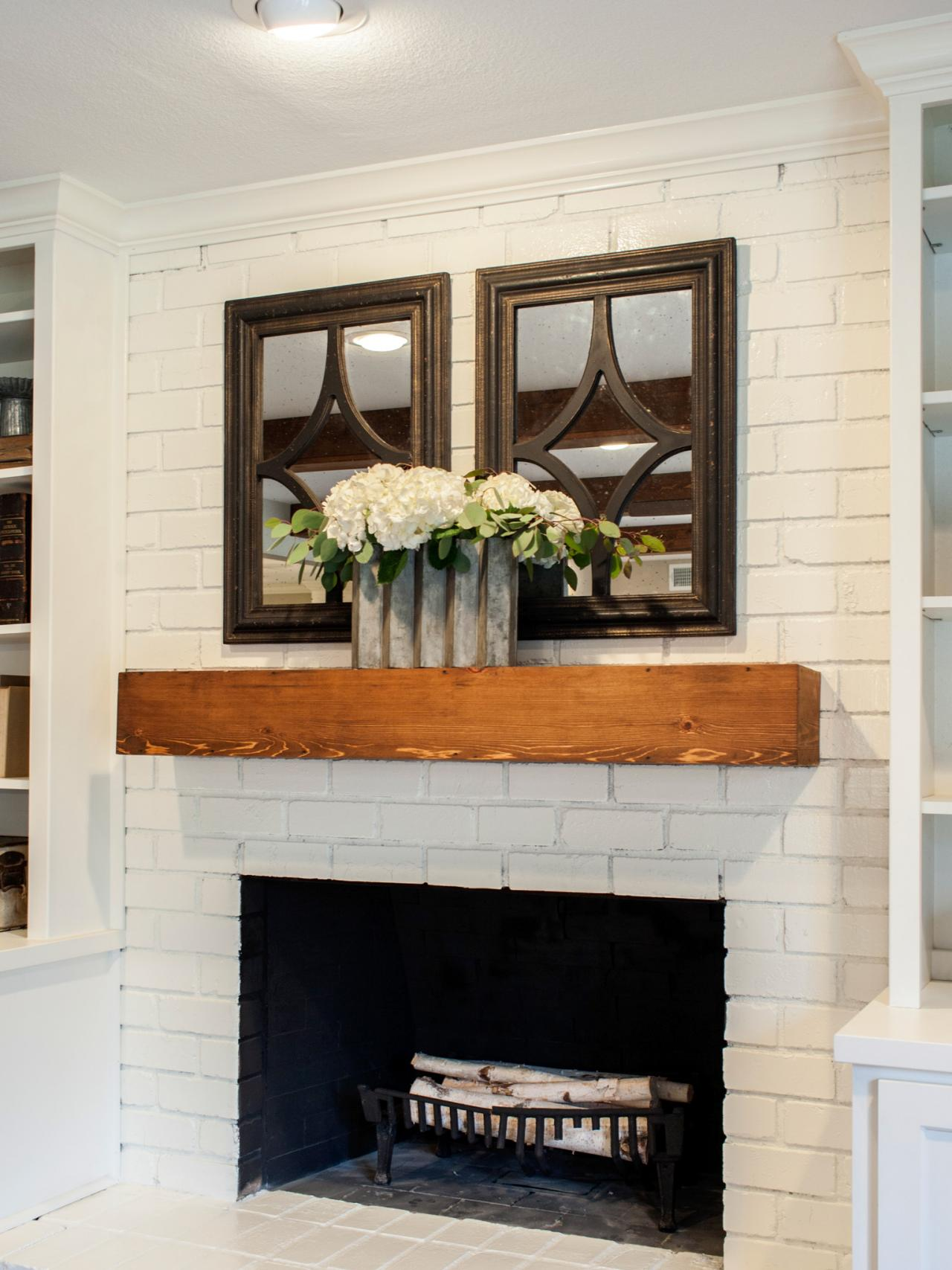 Redwood Mantel With Black Accent Mirrors