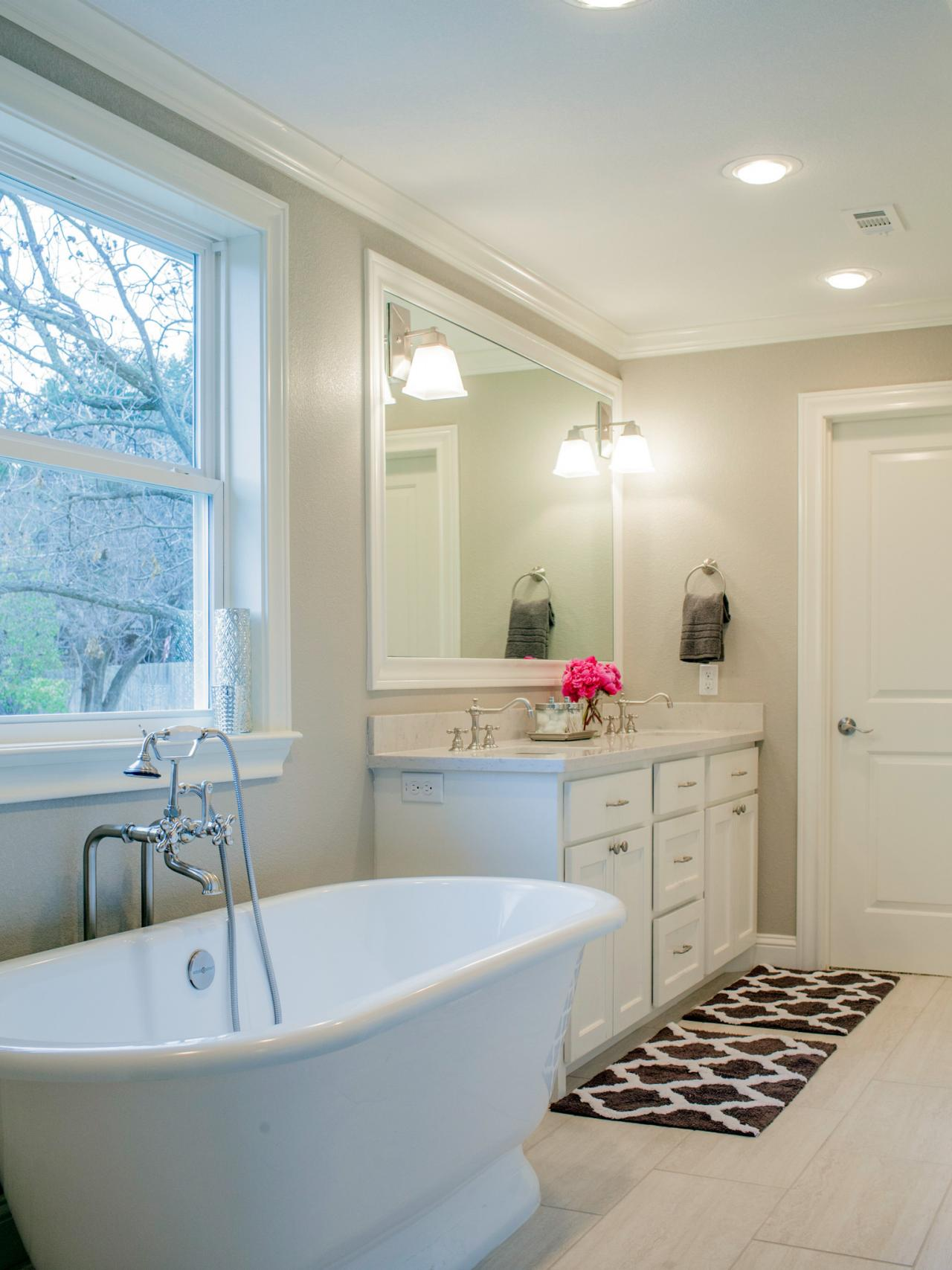 Updated Master Bath with Freestanding Tub and Shower | HGTV