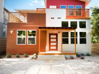 Contemporary Home Exterior Boasts Brown, Gray & Red