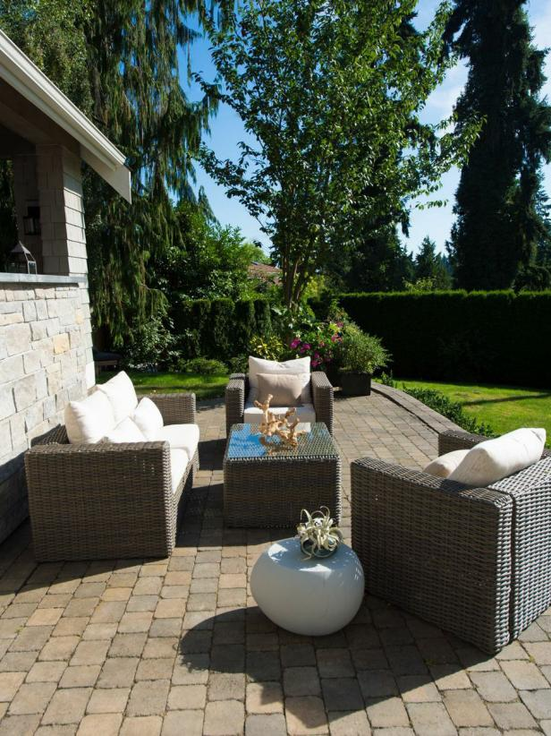 Contemporary Brown Wicker Furniture on Paver Patio