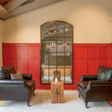 Red Wainscoting Adds Splash of Color