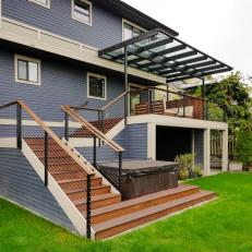 Custom Awning Over Contemporary Deck