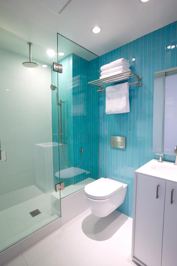 Modern Turquoise And White Bathroom With Gl Shower