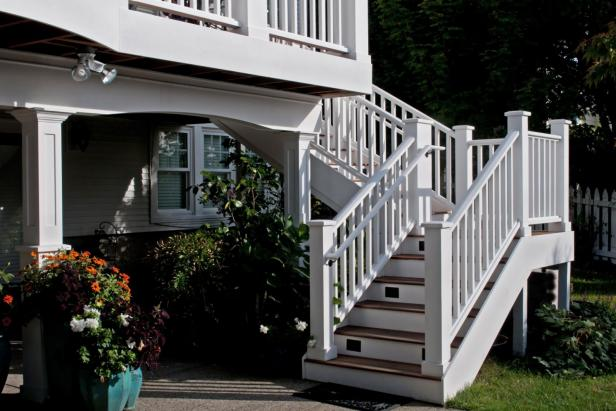 Wood Backyard Stairs With White Railing